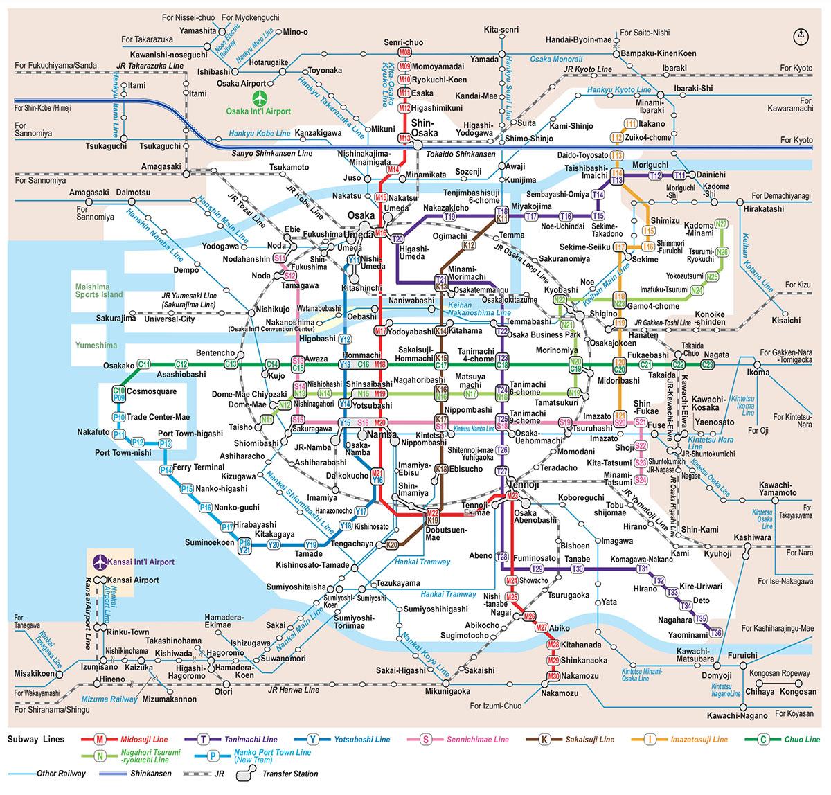 osaka railway map