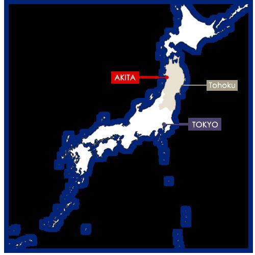 Akita in Japan map