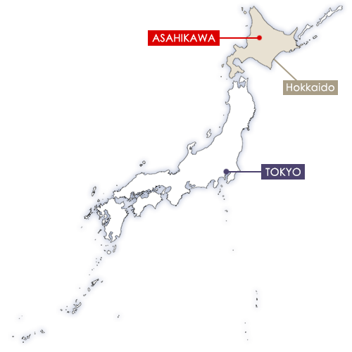 Asahikawa in Japan map