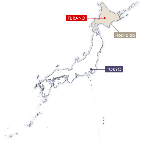 Furano in Japan map
