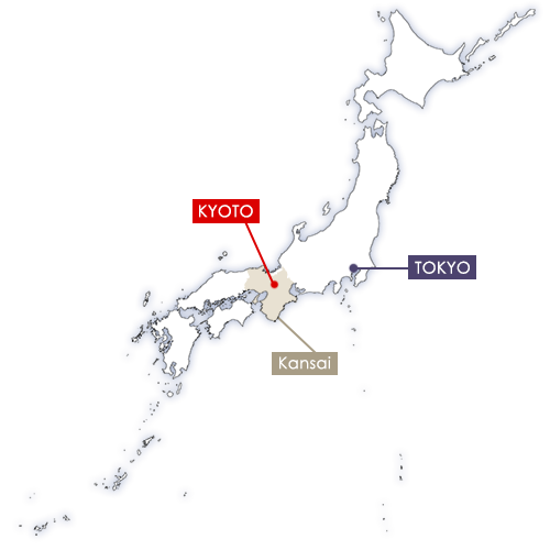 Kyoto in Japan map
