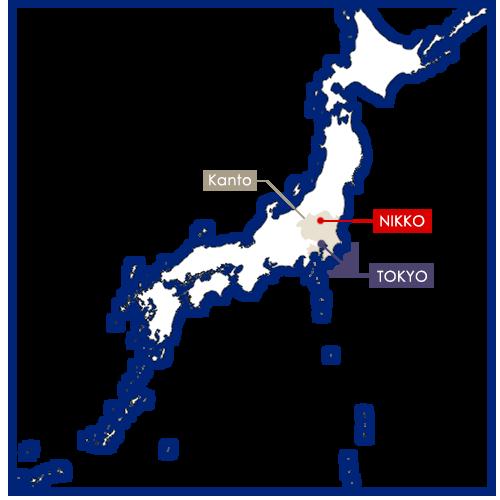 Nikko in Japan map