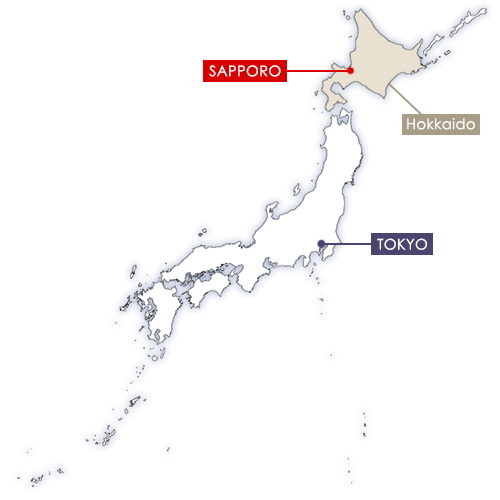 Sapporo in Japan map