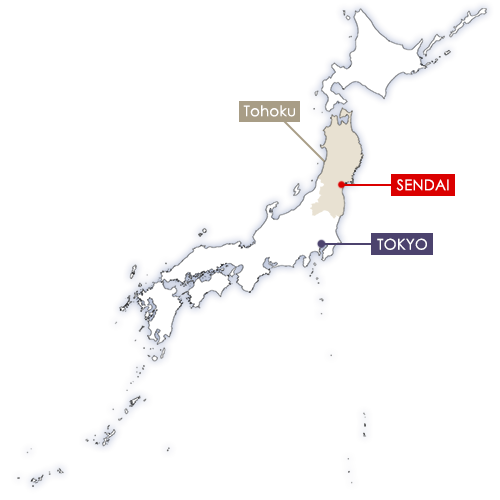 Sendai in Japan map