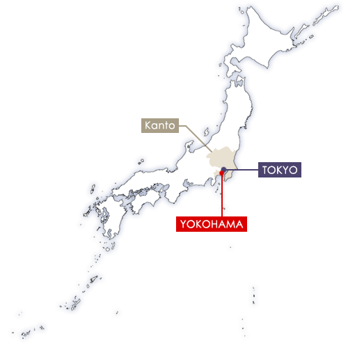 Yokohama in Japan map