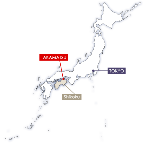 Takamatsu in Japan map