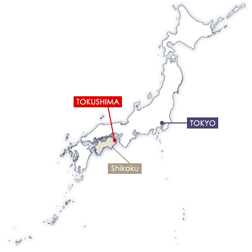 Tokushima in Japan map