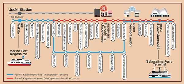 kagoshima tramway route map