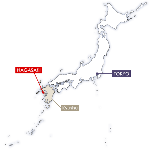 Nagasaki in Japan map