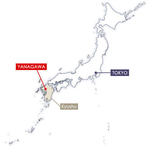 Yanagawa in Japan map