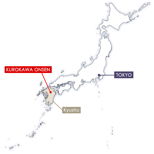 Kurokawa Onsen in Japan map
