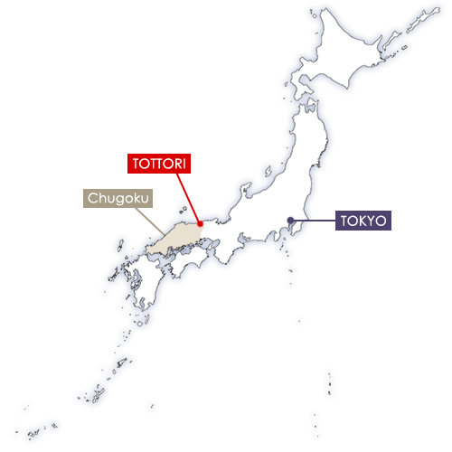 Tottori in Japan map