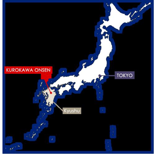 kurokawa onsen sur la carte du Japon