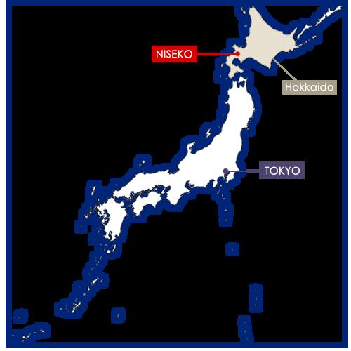 niseko sur la carte du Japon