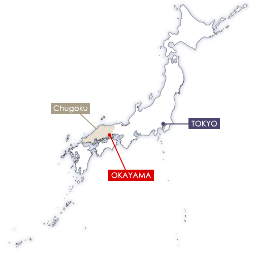 okayama sur la carte du Japon
