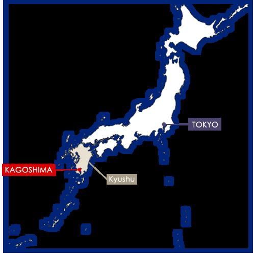 kagoshima sur la carte du Japon