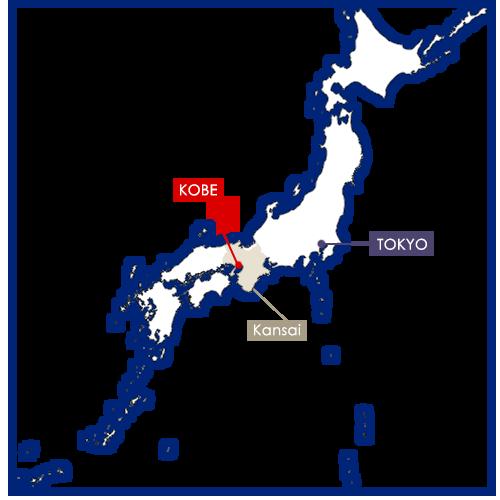 kobe sur la carte du Japon