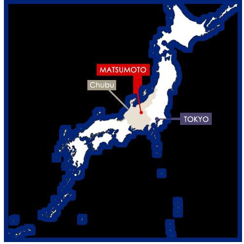 Matsumoto sur la carte du Japon
