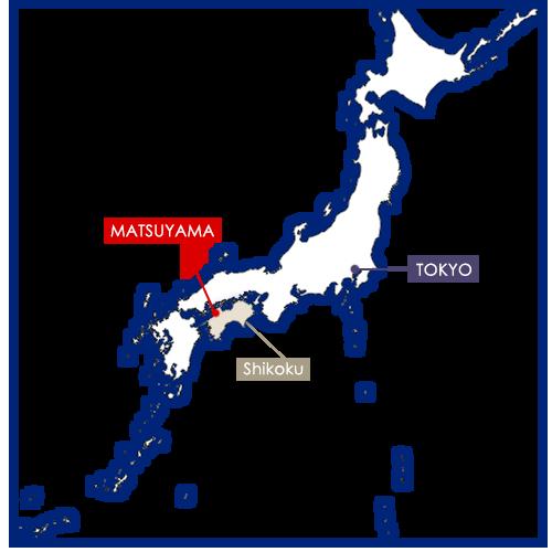 matsuyama sur la carte du Japon