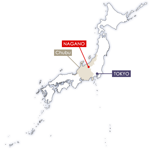 nagano sur la carte du Japon