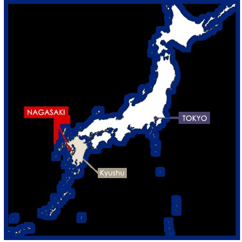 nagasaki sur la carte du Japon