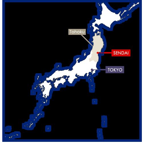 Sendai sur la carte du Japon