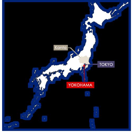 yokohama sur la carte du Japon
