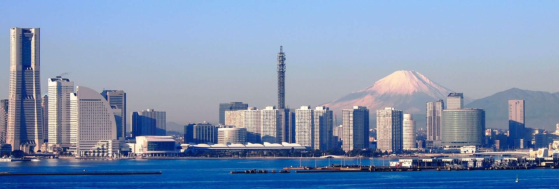 Yokohama au Japon et le mont Fuji