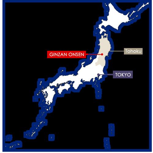 Ginzan Onsen sur la carte du Japon