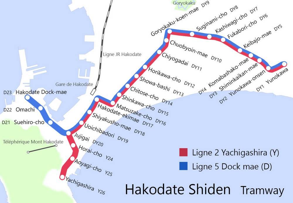 carte du tramway de Hakodate