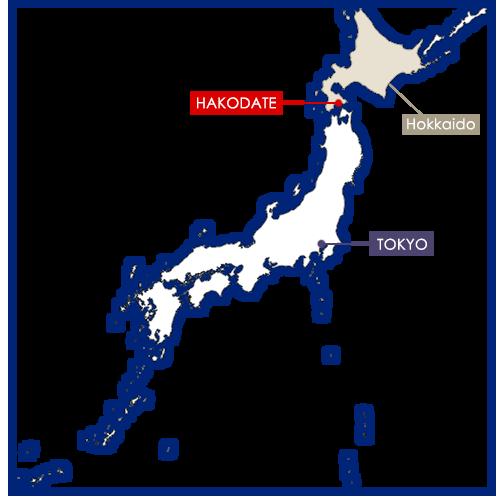 Hakodate sur la carte du Japon