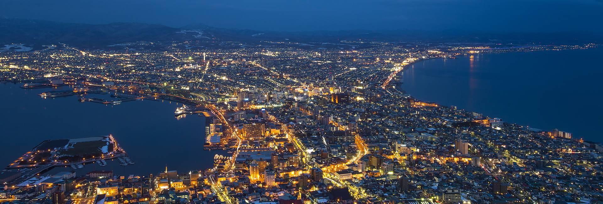vue nocturne de Hakodate