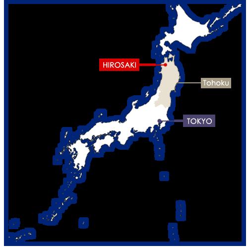 Hirosaki sur la carte du Japon