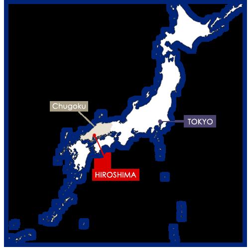 Hiroshima sur la carte du Japon