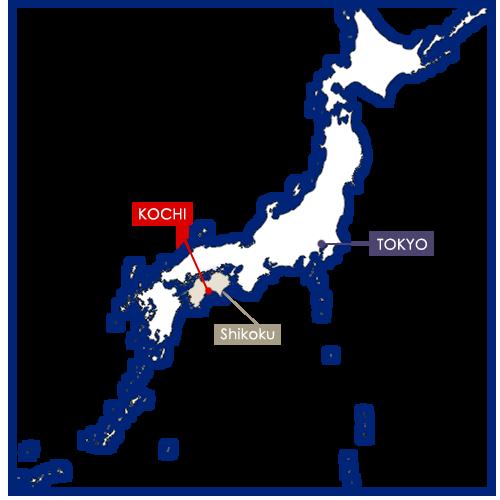 Kochi sur la carte du Japon