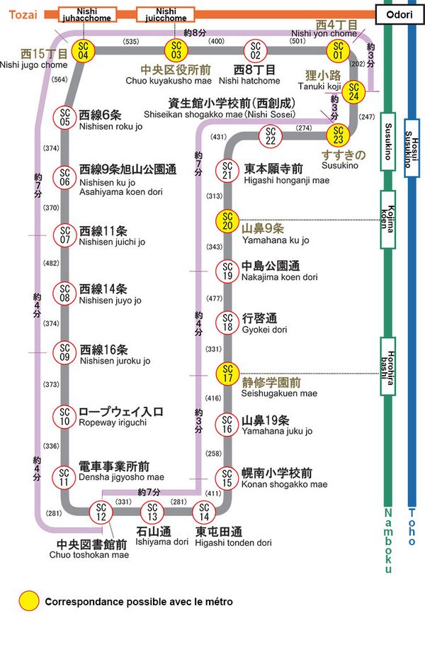 carte du tramway de Sapporo