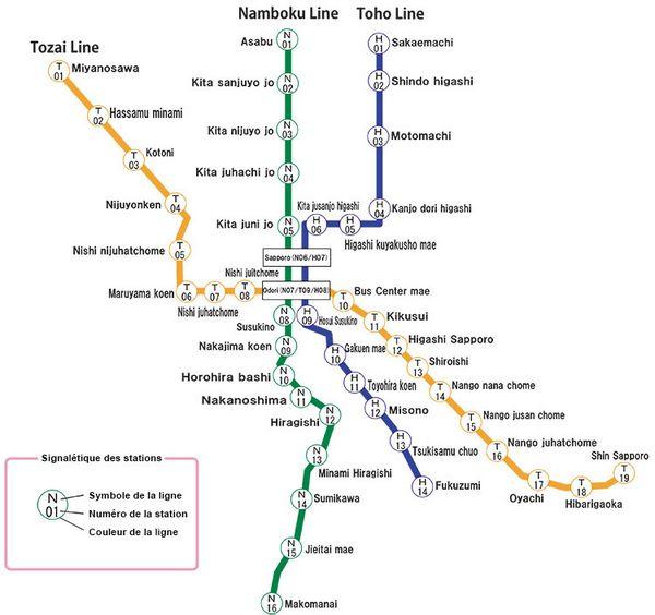 carte du métro de Sapporo