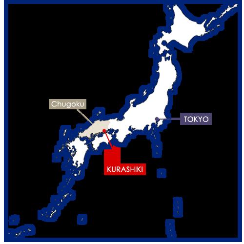 Kurashiki sur la carte du Japon