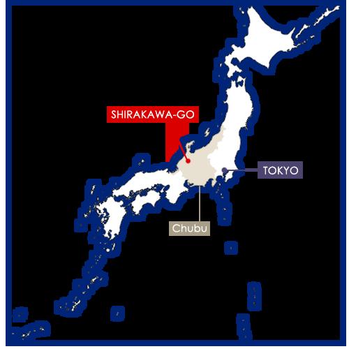 Shirakawa-go sur la carte du Japon
