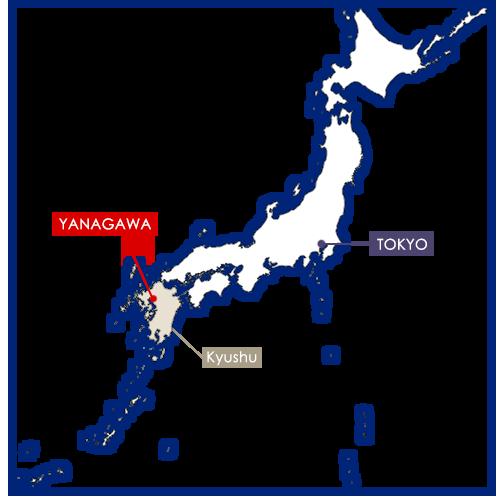 Yanagawa sur la carte du Japon