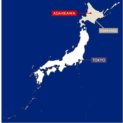 Asahikawa sur la carte du Japon