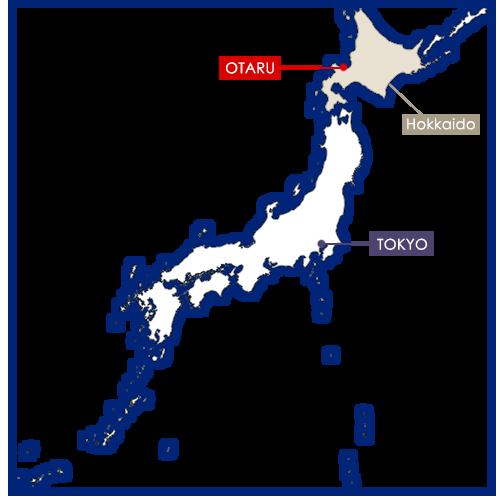 Otaru sur la carte du Japon