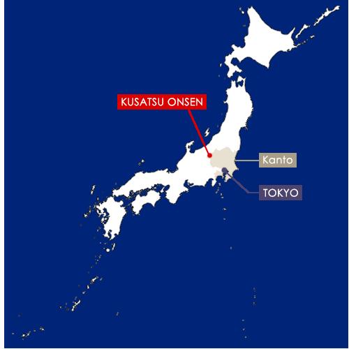 Kusatsu Onsen sur la carte du Japon