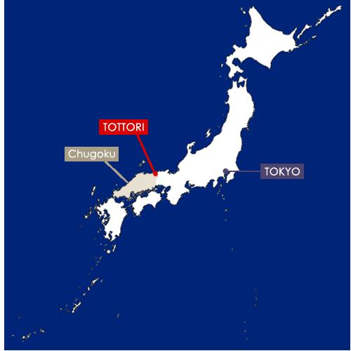 Tottori sur la carte du Japon