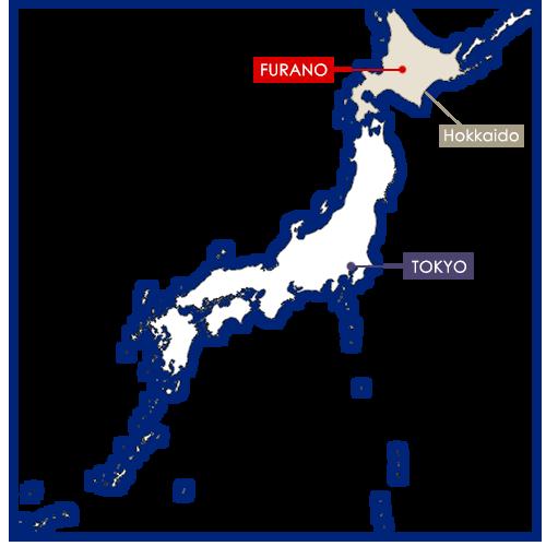 Furano sulla mappa del Giappone
