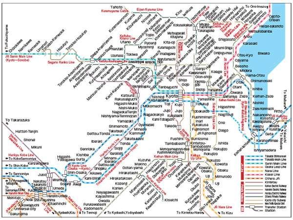 Mappa della rete ferroviaria di Kyoto
