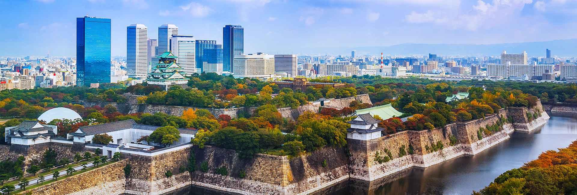 vista del Castello di Osaka