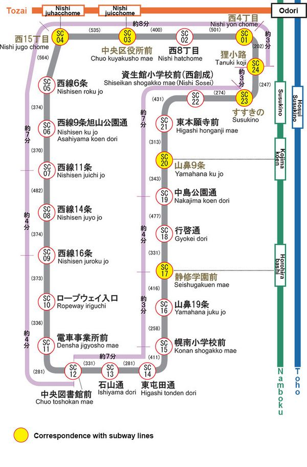mappa della tramvia di Sapporo
