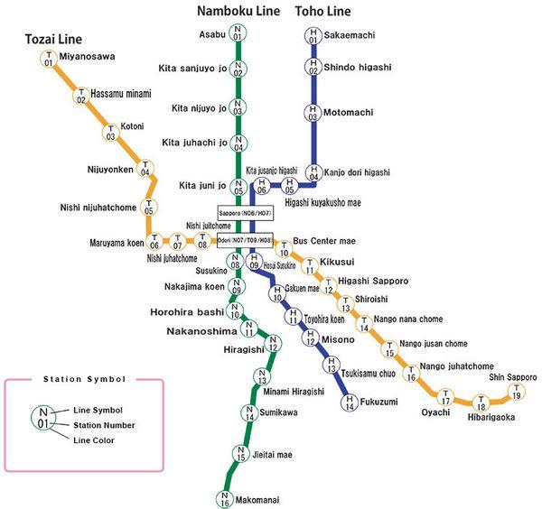 Mappa della metropolitana di Sapporo