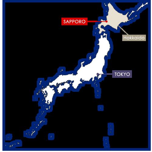 Sapporo sulla mappa del Giappone